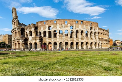 Rome/ Italy July 2018: Colosseum in Rome, Italy. Ancient Roman Colosseum is one of the main tourist attractions in Europe. Scenic view of Colosseum ruins in summer