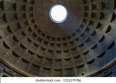 Rome/ Italy July 2018: Interior of Rome Pantheon with the famous ray of light from the top