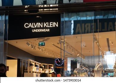 Rome, Italy - July 21, 2019: Calvin Klein underwear store signage. Calvin Klein Inc. is an American fashion house founded by designer Calvin Klein and childhood friend Barry K. Schwartz