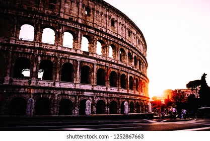 ROME, ITALY- JULY 22, 2018 - Artistic photo at the sunset with part of the Colloseum