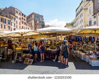 ROME, ITALY - JULY 26, 2018: View of the Campo de' Fiori Market.