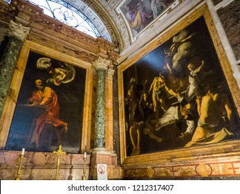 ROME, ITALY - JULY 26, 2018: The Contarelli Chapel (or Cappella Contarelli) housing paintings on St. Matthew the Evangelist by Caravaggio in the San Luigi dei Francesi church.