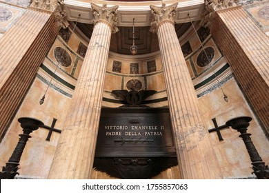 Rome / Italy - July 27, 2013: The Tomb of Victor Emanuel II (Vittorio Emanuele II) inside the Pantheon