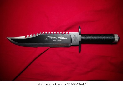 Rome, Italy - July 27, 2019, detail of Rambo First blood knife part II, limited edition n. 2,199 of 10,000 total pieces, signed by Sylvester Stallone.