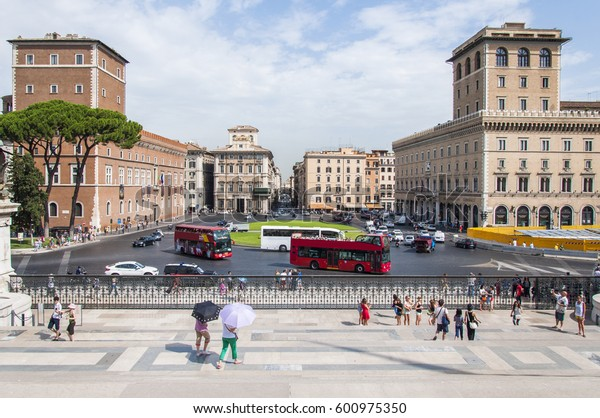 ROME, ITALY - JULY 28. A view of Piazza Venezia in Rome, Italy on July 28, 2013.