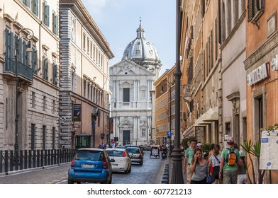 ROME, ITALY - JULY 29. ancient church and buildings in the Piazza Madama on July 29, 2013.