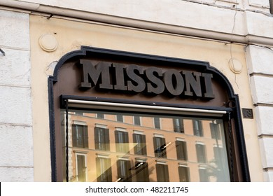 Rome, Italy - July 6, 2016: Missoni store's window in Piazza di Spagna. Founded by Ottavio Missoni in 1953, this company is a high-end Italian fashion house and known for its colorful knitwear designs