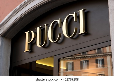 Rome, Italy - July 6, 2016: Pucci window display. Founded in 1947 by Emilio Pucci, the 67 of the company was acquired by French Louis Vuitton-Moet-Hennessy Group luxury goods empire in 2000