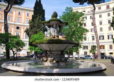 ROME, ITALY - JUNE 01,2017 : Fountain of the Piazza dei Quiriti.