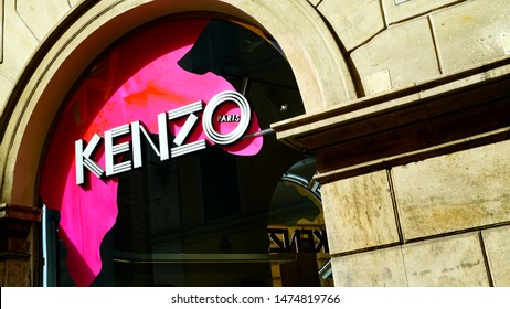 Rome, Italy - June 09, 2019: Kenzo shop window and logo. French fashion house founded in 1970 by Japanese designer Kenzō Takad, known for his perfumes