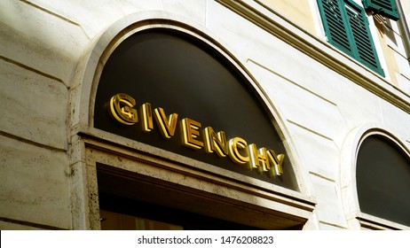 Rome, Italy - June 09, 2019: Golden GIVENCHY sign of their store in Rome. French company that produces clothing, accessories, perfumes, founded in 1952 by designer Hubert de Givenchy
