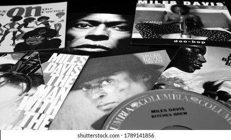 Rome, Italy - June 09, 2020: Cd and artwork of the American jazz trumpeter and composer MILES DAVIS. innovator and musical genius, His recordings were fundamental for the artistic development of jazz
