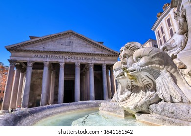 Rome, Italy - June 1, 2019 - The exterior of The Pantheon and fountain located in Rome, Italy.