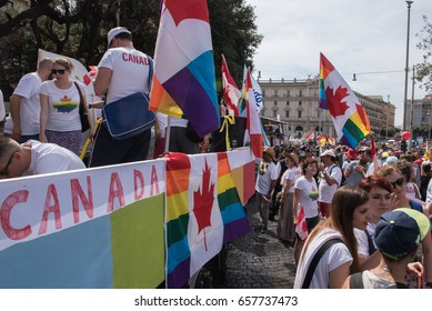 Rome, Italy june 10th 2017. Colorful canadian people and float on the street during gay pride parade, with national flags