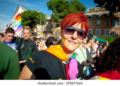 ROME, ITALY - JUNE 11 2011. Euro gay pride day, parade people on city streets during the demonstration. Woman portrait