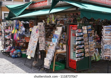 Rome, Italy - June 11, 2018: Newsagent's shop exterior