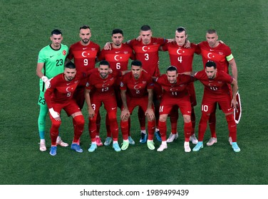 ROME, ITALY - June 11, 2021:  Players of Turkey pose for a team photograph prior to the UEFA Euro 2021 Turkey v Italy at Olimpico Stadium.