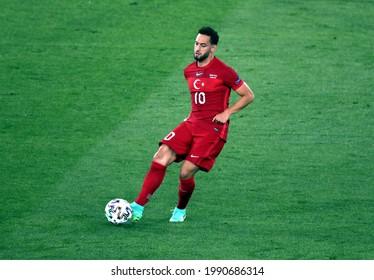 ROME, ITALY - June 11, 2021:  Hakan Calhanoglu in action  during the UEFA Euro 2021 Turkey v Italy at Olimpico Stadium.
