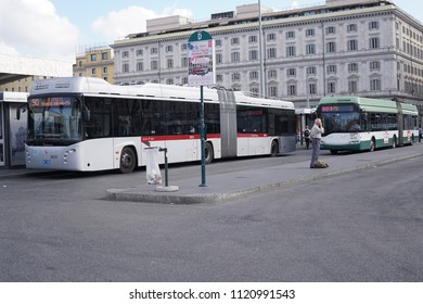 Rome, Italy - June 12, 2018: Atac major bus terminus in front of Termini Station. Tramways Company and Coach of the Municipality of Rome Atac provides public transport in Rome and its surrounding