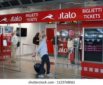 Rome, Italy - June 12, 2018: Italo Ticket Sales. Nuovo Trasporto Viaggiatori (New Passenger Transport) is an Italian company which is Europe's first private open access operator of high-speed trains