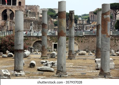ROME, ITALY - JUNE 13, 2015: The forum of Trajan in Rome. Italy. Trajan's Forum was the last of the Imperial fora to be constructed in ancient Rome.