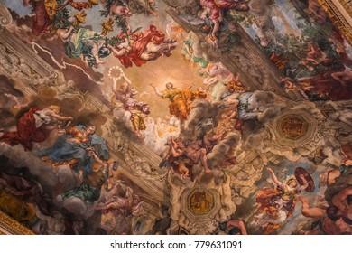 ROME, ITALY, JUNE 13, 2015 : Ceiling Fresco by Pierre de Cortone, Palazzo Barberini, june 13, 2015, in Rome, Italy