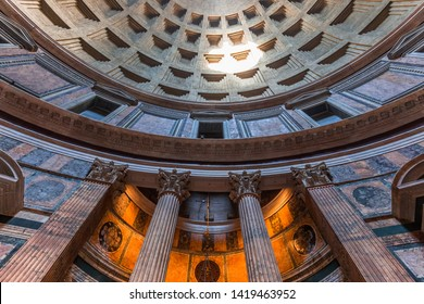 ROME, ITALY, JUNE 14, 2015 : interiors and architectural details of the pantheon, june 14, 2015, in Rome, Italy