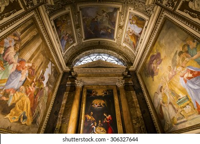 ROME, ITALY, JUNE 14, 2015 : interiors and architectural details of saint louis des francais church, june 14, 2015, in Rome, Italy