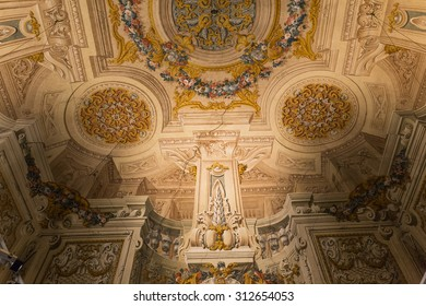ROME, ITALY, JUNE 14, 2015 : interiors and architectural details of Doria Pamphilj Gallery, june 14, 2015, in Rome, Italy