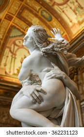 ROME, ITALY - JUNE 14, 2015:  baroque marble sculptural group by Italian artist Gian Lorenzo Bernini, Rape of Proserpine in Galleria Borghese, Rome, Italy