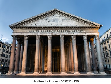 Rome, Italy - June 14 2019: View of the Pantheon holy temple at dawn - Rome, Italy.