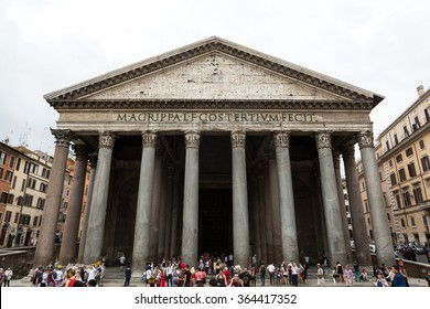 ROME, ITALY - JUNE 15, 2015: Tourists visits the ancient Pantheon church, a temple for all Roman Gods  Rome, Italy