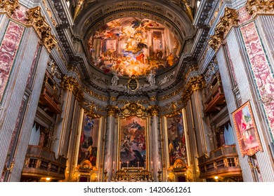 ROME, ITALY, JUNE 16, 2015 : interiors and architectural details of  sant  Ignazio church, june 16, 2015, in Rome, Italy