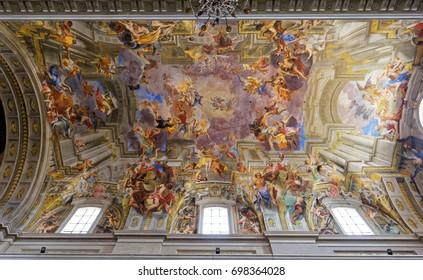 ROME, ITALY, JUNE 16, 2015 : Frescoes of Andrea Pozzo on sant  Ignazio church ceilings, june 16, 2015, in Rome, Italy