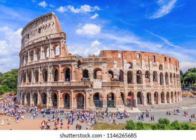 Rome, Italy - June 16, 2018: Panoramic view of Colosseum in Rome.