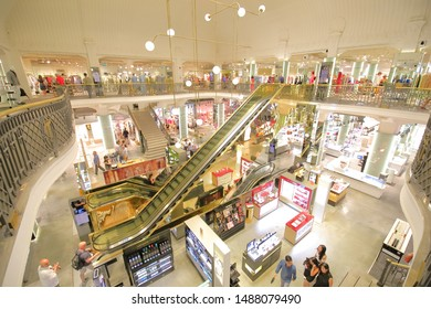 ROME ITALY - JUNE 16, 2019: Unidentified people visit Coin department store Rom Italy