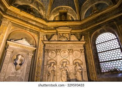 ROME, ITALY, JUNE 18, 2015 : interiors and architectural details of Santa maria del popolo church, june 18, 2015, in Rome, Italy