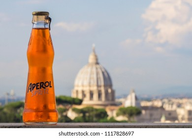 ROME, ITALY - JUNE 18, 2018: A bottle of Aperol spritz. The drink is a wine-based cocktail commonly served as an aperitif in Italy