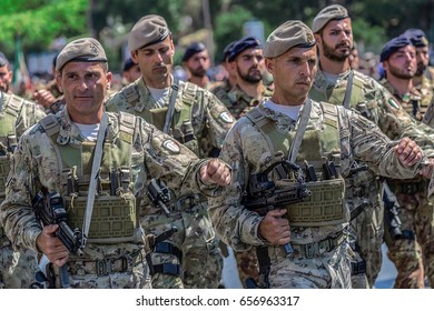 ROME, ITALY - JUNE 2, 2017: Military parade at Italian National Day. Soldiers in formation. Picture is taken between Piazza Venezia and Teatro di Marcello.