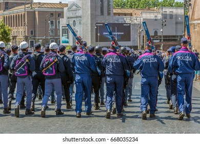 ROME, ITALY - JUNE 2, 2017: Military parade at Italian National Day. Police troops from the mountaineers and skiers in formation. Picture is taken between Piazza Venezia and Teatro di Marcello.