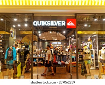 ROME, ITALY - JUNE 20, 2015. Quiksilver Store in Rome, Italy with people shopping. Quiksilver is an international brand of sportswear, leading maker of water sportswear and outdoor footwear.