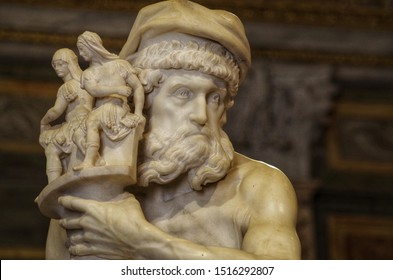 Rome, Italy - June, 20 2019, detail of the sculptural group Enea, Anchise and Ascanio by Gian Lorenzo Bernini, executed between 1618 and 1619.