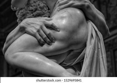 Rome, Italy - June, 20 2019, detail of the Ratto di Proserpina sculpture group made by Gian Lorenzo Bernini, executed between 1621 and 1622.