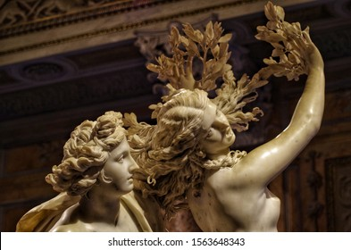 Rome, Italy - June 20, 2019, detail of the sculptural group Apollo and Daphne made by Gian Lorenzo Bernini, executed between 1622 and 1625.