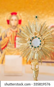 Rome, Italy - June 2015 - Adoration monstrance with the Blessed Sacrament on the altar