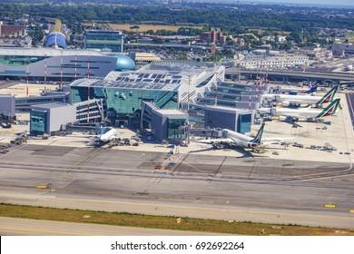 ROME ITALY JUNE 2017: Aerial view of the Leonardo da Vinci International Airport (Fiumicino Aeroporto Internazionale Leonardo da Vinci). Its one of the busiest airports in Europe by passenger traffic.