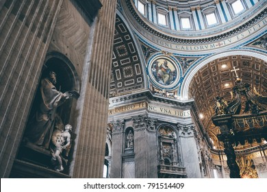 Rome, Italy - June 2017: The Interior of St Peter's Basilica, Vatican City, Rome, Italy