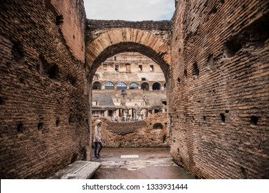 ROME. ITALY - June 2018: Rome Colosseum inside view in ancient Rome, Italy