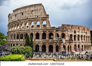 ROME. ITALY - June 2018: Rome Colosseum outside view in ancient Rome, Italy