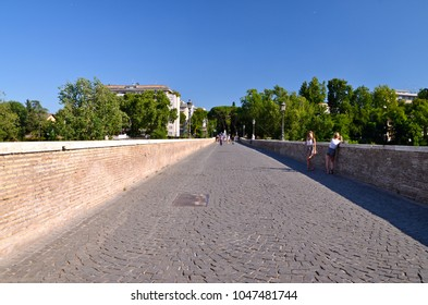 ROME, ITALY - JUNE 21, 2014: Milvian Bridge on river Tiber in Rome